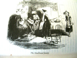 the Smallweeds in Bleak House; illustrator Hablot Knight Browne (Phiz) (click to enlarge)