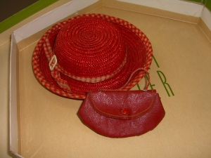 Red straw doll hat and red leather purse. ©booksandbuttons (click to enlarge)