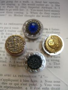 BoPeep; blue glass; brass palette; black glass©booksandbuttons