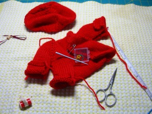 doll's red beret and jacket ©booksandbuttons