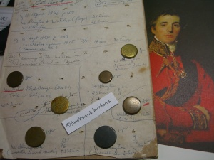 Mounted Wellington buttons against backdrop of The Duke of Wellington painted by Lawrence 1814. Collection of Apsley House.