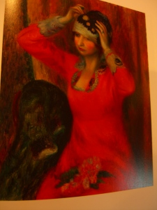 """""""Girl in Red Dress Pinning on Hat"""" by William James Glackens 1915-1916 oil on canvas"""