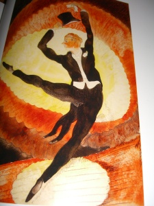 """""""In Vaudeville: Acrobatic Male Dancer with Top Hat, 1920"""" by Charles Demuth;  watercolor, graphite and charcoal"""