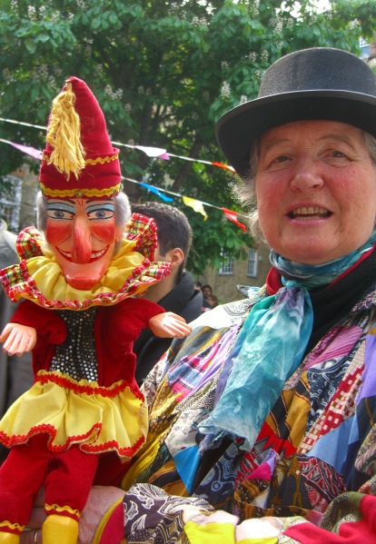 Mr. Punch with one of the church ladies.