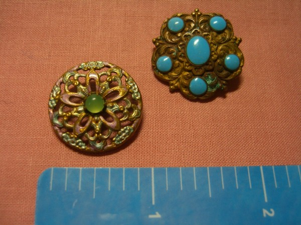 Two antique brass with stones ©booksandbuttons