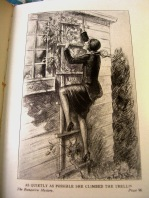 """As quietly as possible she climbed the trellis."" The Bungalow Mystery (Nancy Drew)"