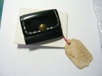 "plastic clutch purse by Scemama with original sales tag, 1 3/8"" ©booksandbuttons"